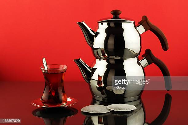 tea and teapot - red kettle stock photos and pictures