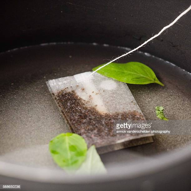 Tea bag with fruit aroma and thai basil leaves. Preparation step coulis.