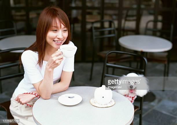 Tea break at outdoor cafe