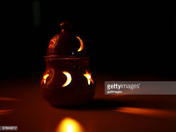 Tea Candle Lamp at Night.