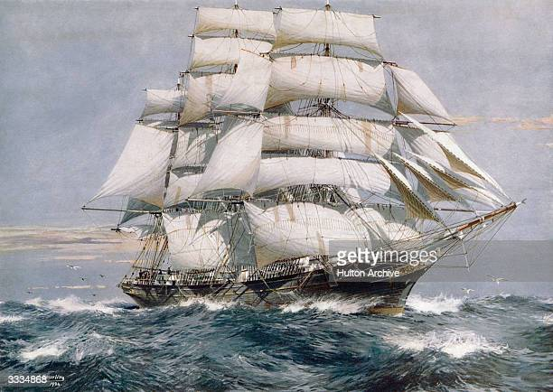 Tea clipper Cutty Sark at sea as a training ship The ship built at Scott and Linton's Dumbarton shipyards in 1869 was designed to sail to China for...