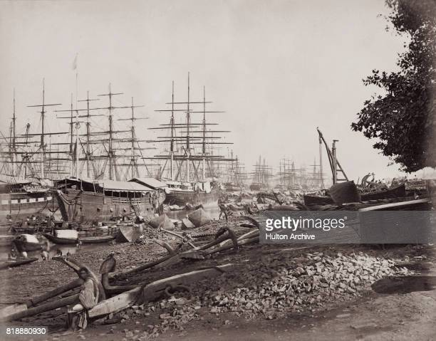 Tea clippers moored on the Hooghly River in Calcutta circa 1865 Vintage albumen print Photo by Hulton Archive/Getty Images
