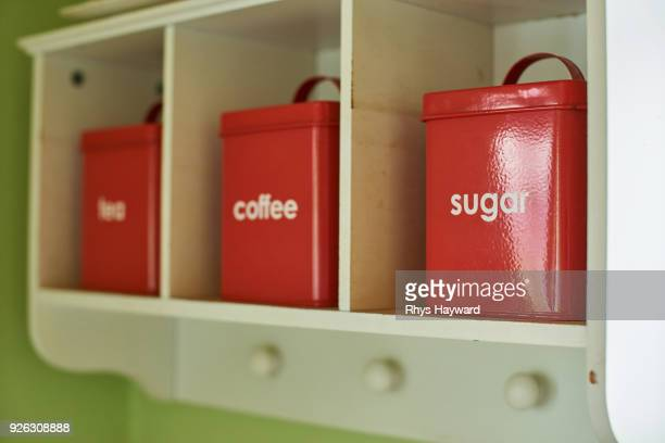 tea, coffee, and sugar canisters - キャニスター ストックフォトと画像