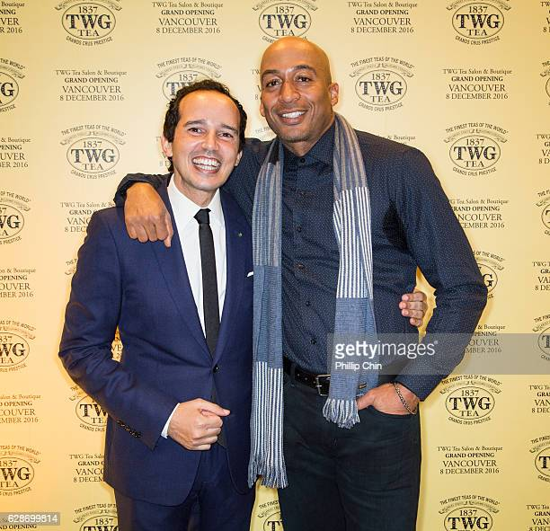 TWG Tea cofounders Taha Bouqdib and actor James Lesure attend the grand opening of North America's first TWG Tea Salon Boutique Grand Opening on...