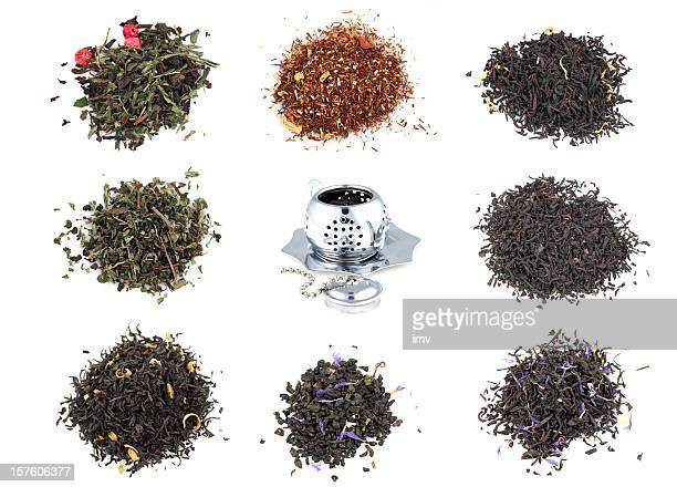 tea collection - tea leaves stock photos and pictures