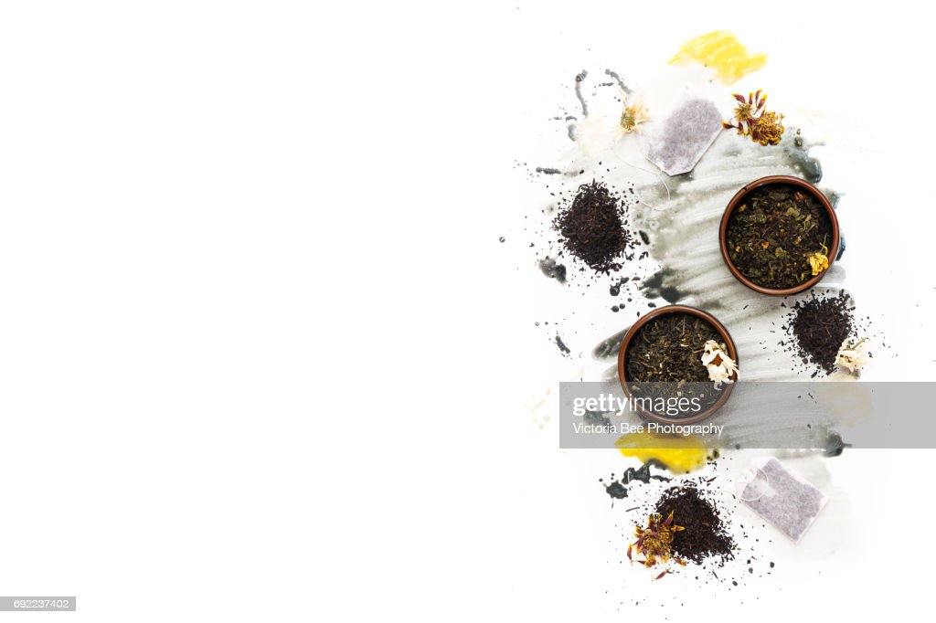 Tea. Creative food shot with watercolor. : Stock Photo
