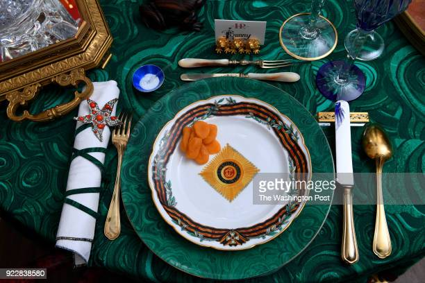 Tea For TouManova by Hutton Wilkinson and Josh Hildreth uses Marjorie Merriweather Post's Russian formal ware paired with malachite inspired charger...