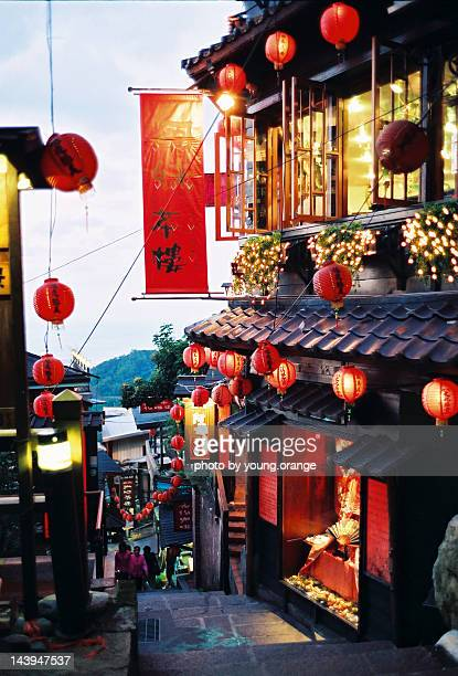 tea house with lanterns - taipei stock pictures, royalty-free photos & images