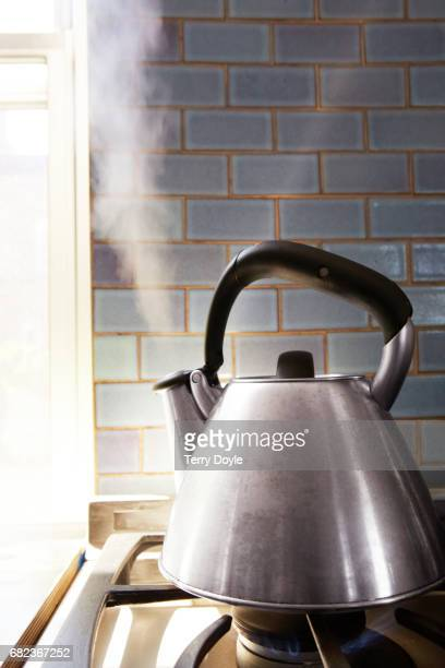tea kettle blowing steam on a stove