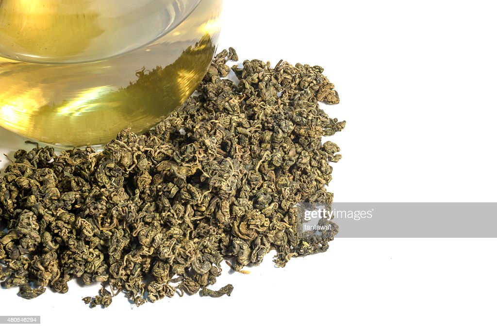 tea leaf with cup of tea : Stock Photo