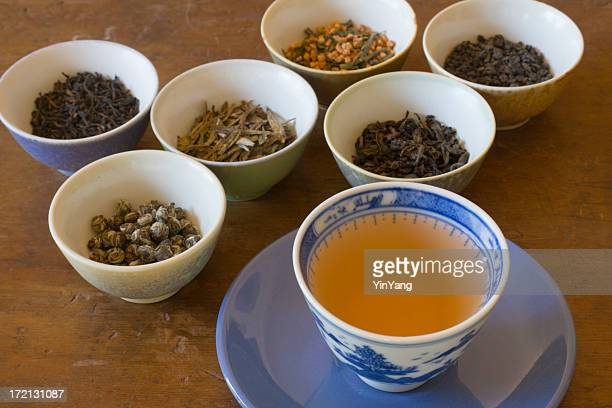 Tea Leaves Tasting Varieties with Poured Cup of Hot Drink