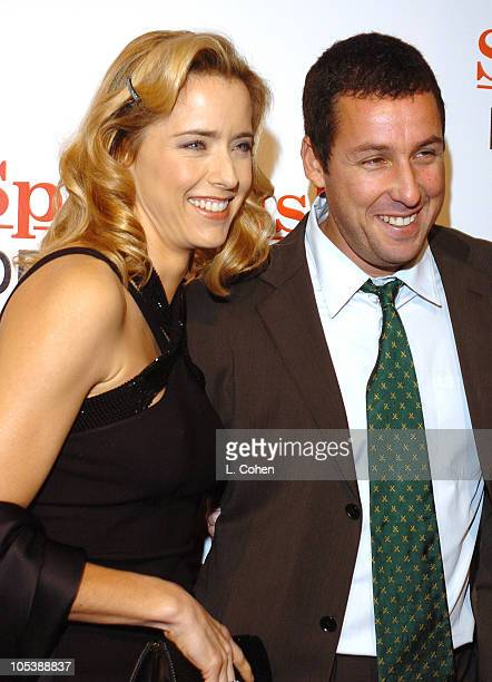 Tea Leoni and Adam Sandler during 'Spanglish' Los Angeles Premiere Red Carpet at Mann Village Theater in Los Angeles California United States