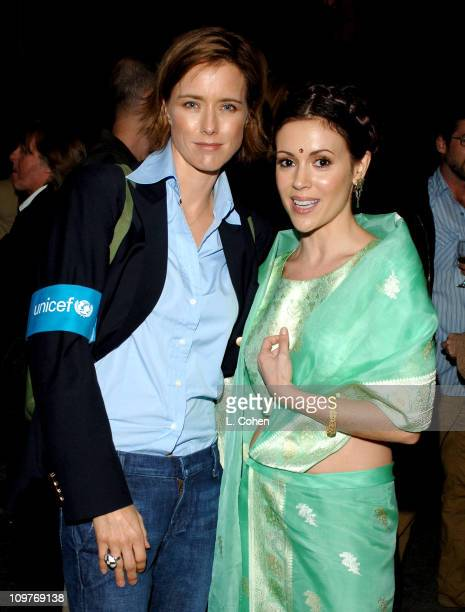 Tea Leoni and Alyssa Milano during 'Concert for Bangladesh' Revisited with George Harrison and Friends Documentary Gala Show Backstage at Warner Bros...