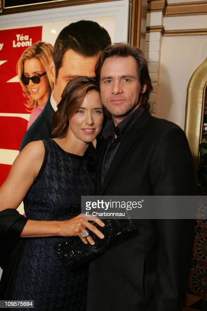 Tea Leoni and Jim Carrey during The Premiere of Columbia Pictures' 'Fun With Dick and Jane' at Mann Village Theatre in Los Angeles California United...