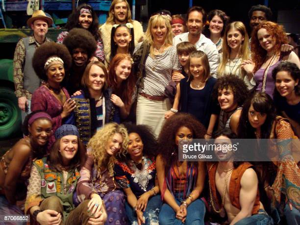 Tea Leoni David Duchovny and kids Madelaine West and Kyd Miller visit Hair on Broadway at the Al Hirshfeld Theatre on May 10 2009 in New York City