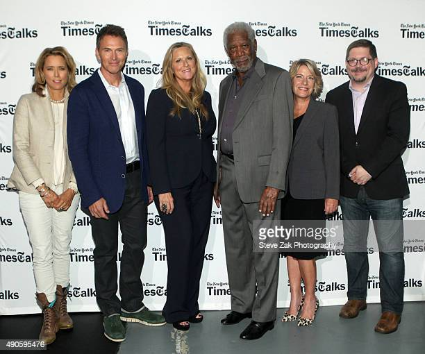 Tea Leoni Tim Daly Lori McCreary Morgan Freeman Barbara Hall and Bruce Fretts attend TimesTalks Presents An Evening with the Cast of 'Madame...