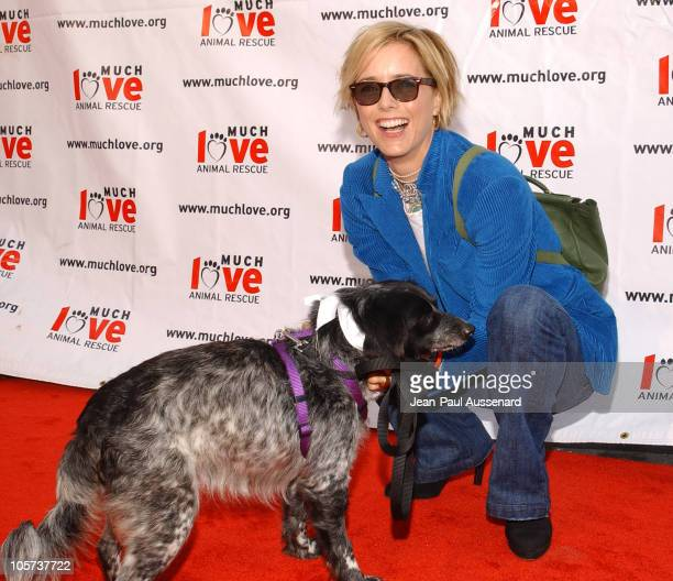 Tea Leoni with a dog up for adoption at Much Love Animal Rescue