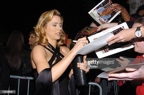 Tea Leoni with fans during 'Spanglish' Los Angeles Premiere Red Carpet at Mann Village Theater in Los Angeles California United States