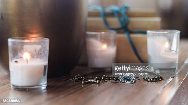 Tea Light Candle And Vase Dcor On Table