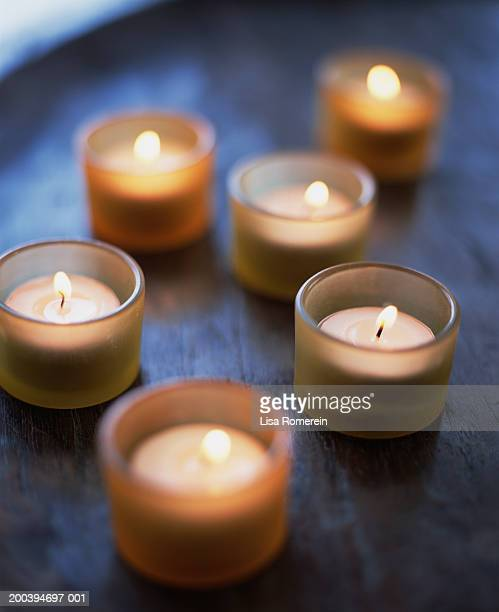 Tea lights on table