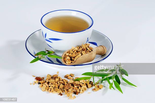 Tea made with dried pagoda tree fruit, close-up