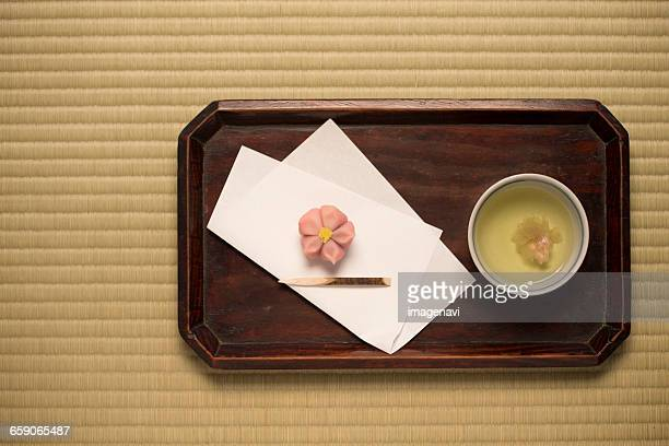 Tea of cherry blossoms and Japanese sweets