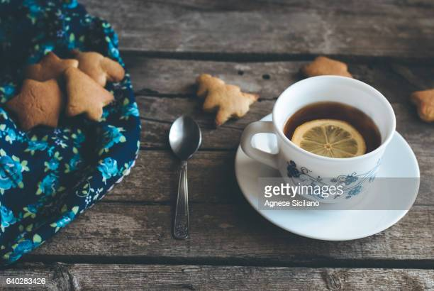 Tea on a wooden table.