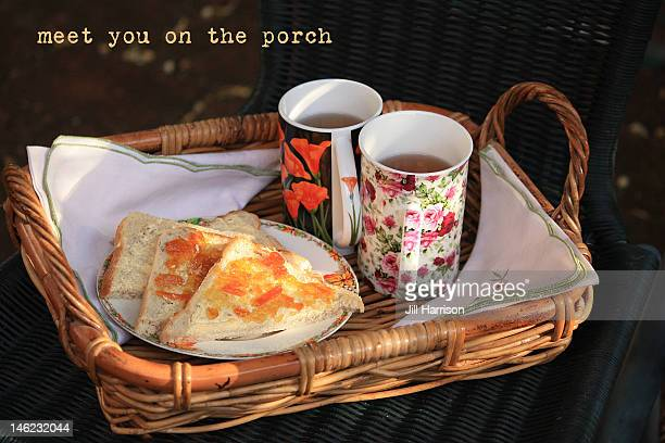 tea on porch - jill harrison stock pictures, royalty-free photos & images