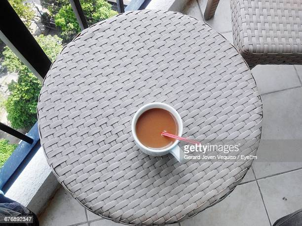 Tea On Round Table In Office Cafeteria