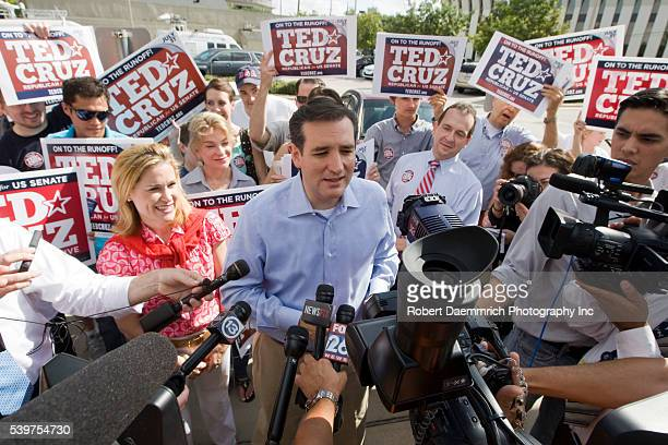 Tea Party favorite Ted Cruz of Houston talks to the press outside a Houstonarea polling place prior to his upset victory of Texas Lt Governor David...