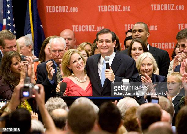 Tea Party favorite Ted Cruz with wife Heidi of Houston talks to supporters after his upset victory of Texas Lt Governor David Dewhurst in the...