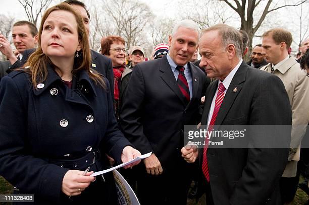 Tea Party National Coordinator Jenny Beth Martin Rep Mike Pence RInd and Rep Steve King RIowa before the members spoke during a Tea Party Patriot...