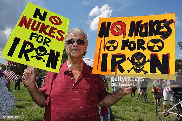 Tea Party supporters gather on the West Front Lawn for a rally against the Iran nuclear deal at the US Capitol September 9 2015 in Washington DC...