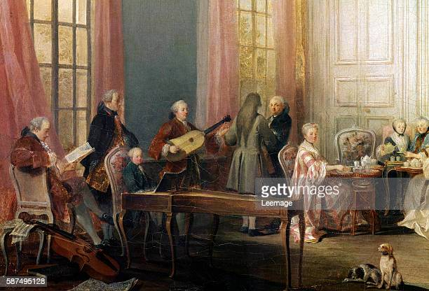 Tea Party with the Prince of Conti at the Temple by Michel Barthelemy Ollivier Detail A young Wolfgang Amadeus Mozart is sitting at the piano Oil on...