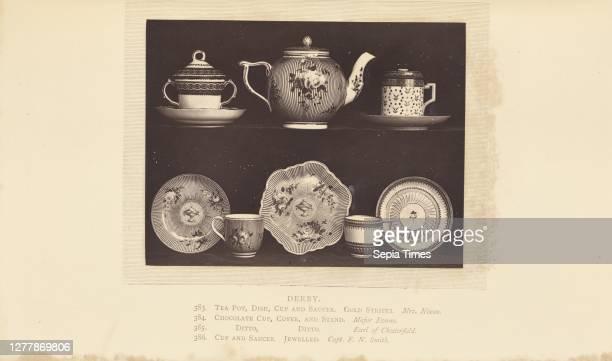 Tea pot, cups, and saucers; William Chaffers ; London, England, Europe; 1871; Woodburytype; 9.3 x 12.2 cm .