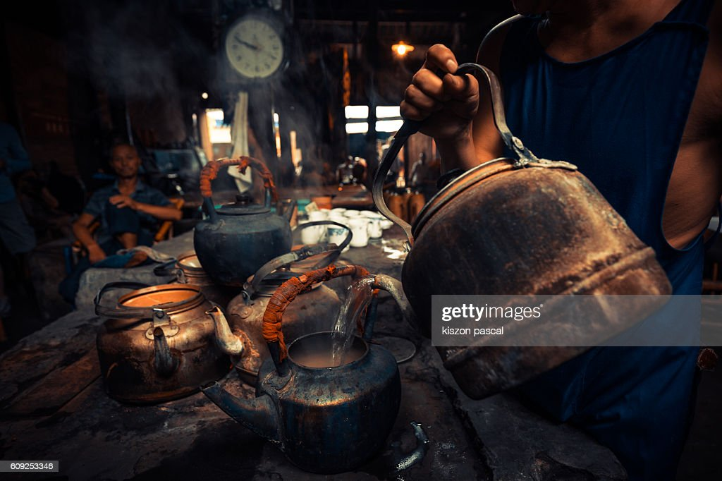 tea pot in an old traditional tea house in China ( Chengdu , Sichuan ) : Stock Photo
