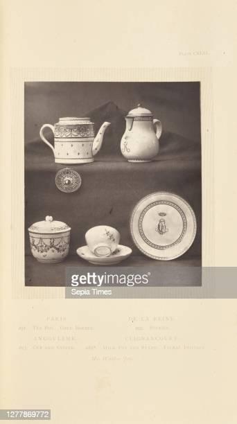 Tea pot, milk pot, sugar pot, cup and saucer; William Chaffers ; London, England, Europe; 1871; Woodburytype; 11.2 x 9.7 cm .