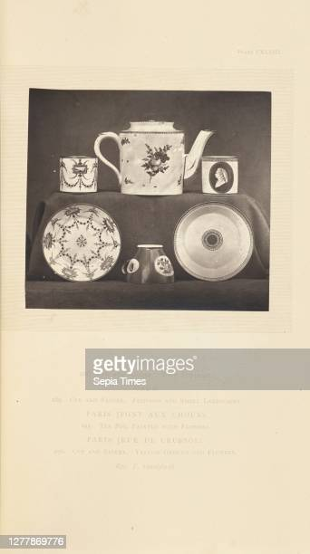 Tea pot with cups and saucers; William Chaffers ; London, England, Europe; 1871; Woodburytype; 9.2 x 10.3 cm .