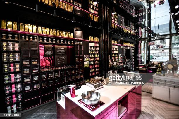 Tea products are displayed at a tea shop 'The et infusion' of French gourmet food company Fauchon in Paris on September 8, 2020. - A job-saving plan...