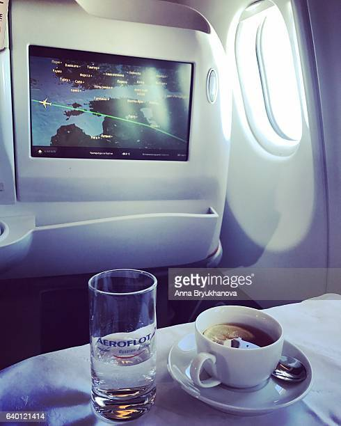 Tea served on board of airplane