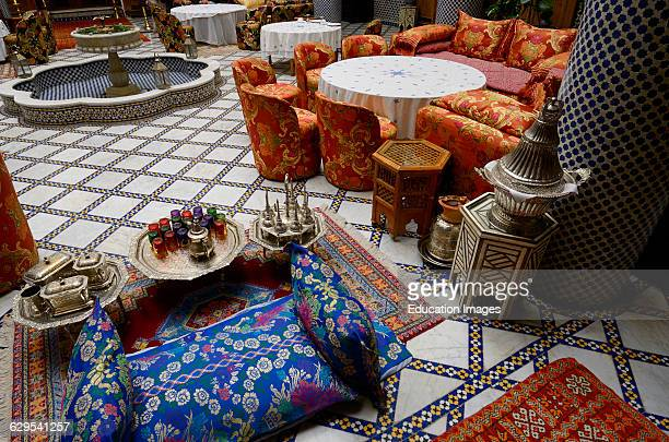 Tea set and dining area in Moorish style at Riad El Yacout in Fes el Bali Morocco