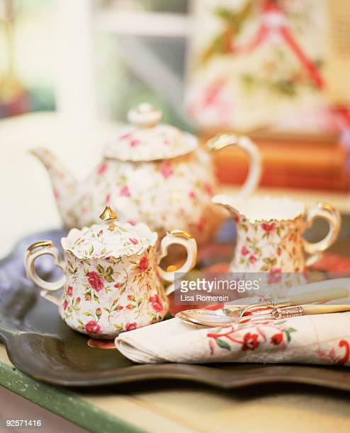 tea set - sugar bowl crockery stock photos and pictures
