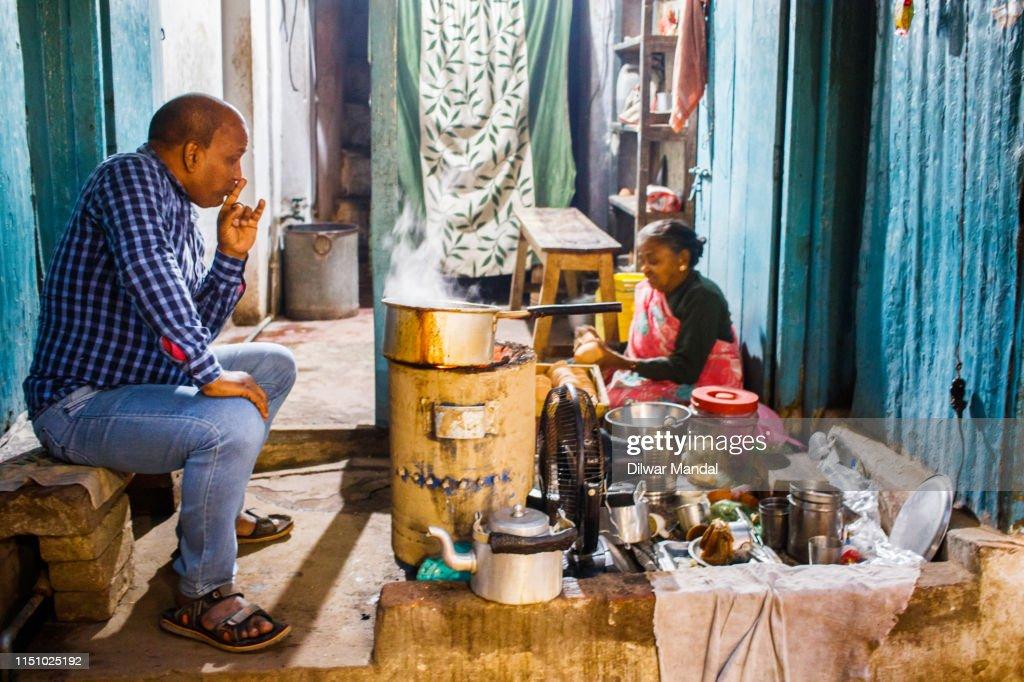 Tea Shop At Varanasi : Stock Photo
