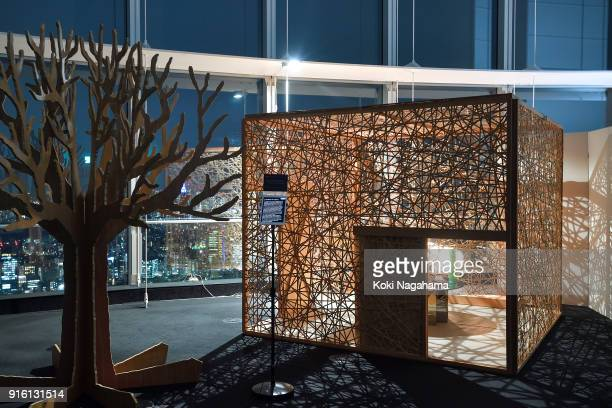 Tea Space with a Sphere by Shinichi Takemura / Earth Literacy Program is displayed at the Media Ambition Tokyo at Roppongi Hills on February 8 2018...