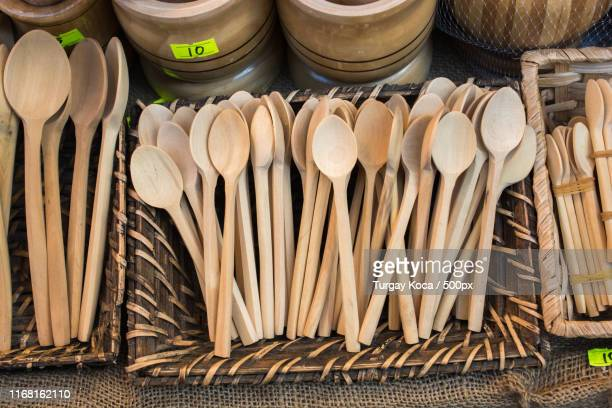 tea spoon made of wood - tablespoon vs teaspoon stock photos and pictures