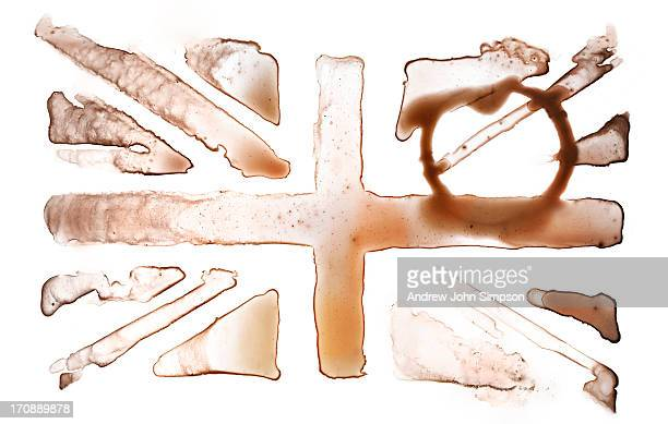 tea stain union jack flag - andrew jack stock pictures, royalty-free photos & images