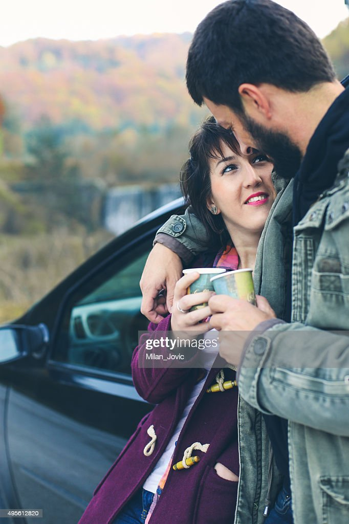 Tea time on the road : Stock Photo