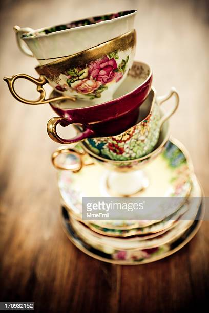 tea time - saucer stock pictures, royalty-free photos & images