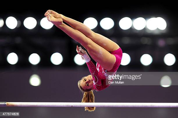 Tea Ugrin of Italy competes on the Uneven Bars in the Women's Individual AllAround final on day six of the Baku 2015 European Games at National...