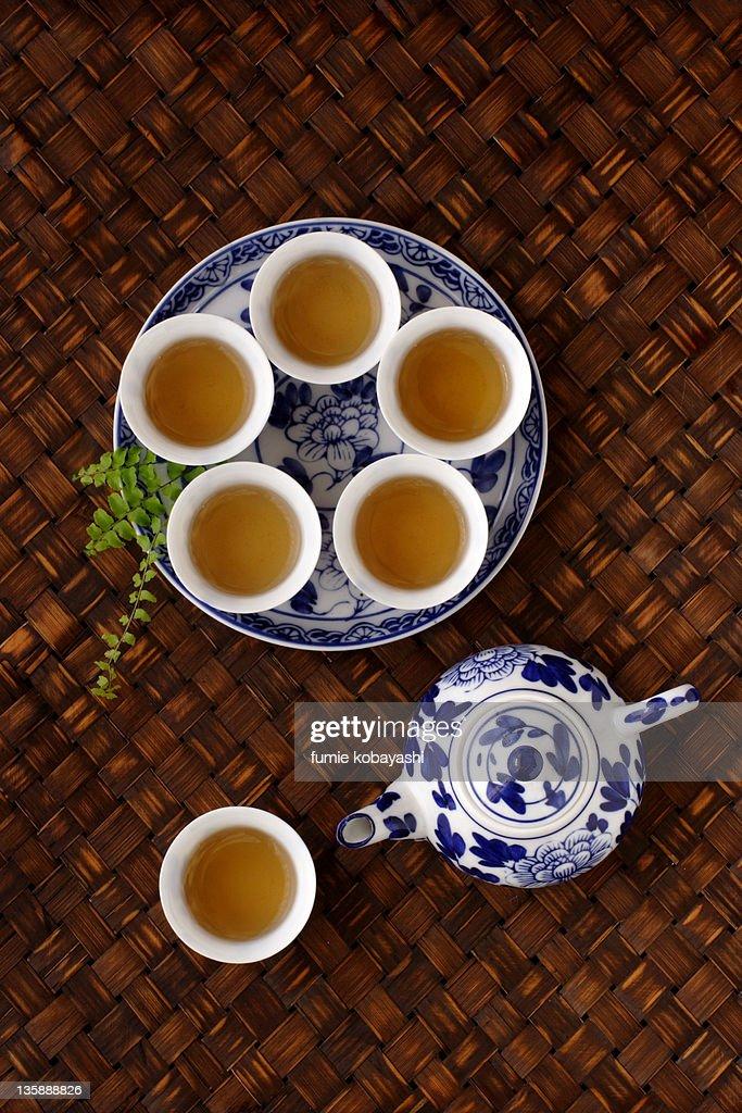Tea with Chinese tea set : Stock Photo